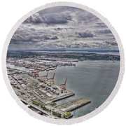 Industrial Harbor Round Beach Towel