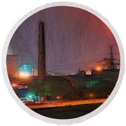 Industrial Lights Round Beach Towel
