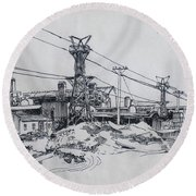 Industrial Site Round Beach Towel