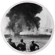 Industry: Oil Fire, C1902 Round Beach Towel