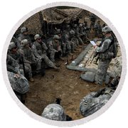 Infantrymen Receive Their Safety Brief Round Beach Towel