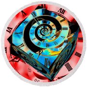 Infinity Time Cube Blue On Red Round Beach Towel