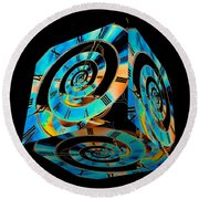 Infinity Time Cube On Black Round Beach Towel