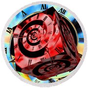 Infinity Time Cube Red On Blue Round Beach Towel