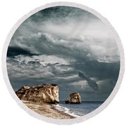 Infrared Aphrodite Rock Round Beach Towel