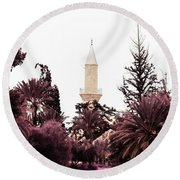 infrared Hala Sultan Tekke Round Beach Towel