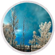 Infrared Summer Storm Round Beach Towel