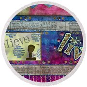 Infuse Me With Laughter Round Beach Towel
