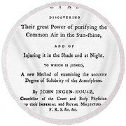 Ingenhousz Title-page, 1779 Round Beach Towel