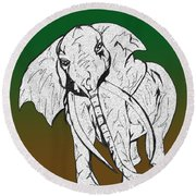 Inked Elephant In Green And Brown Round Beach Towel