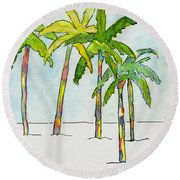 Inked Palms Round Beach Towel