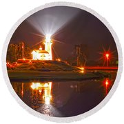 Inland Lighthouse In Indiana Round Beach Towel