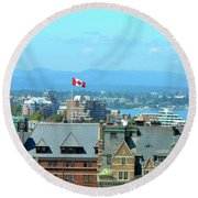Inner Harbour As Seen  Via Marriot Window Round Beach Towel
