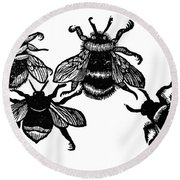 Insects: Bees Round Beach Towel