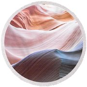 Inside Lower Antelope Canyon Round Beach Towel
