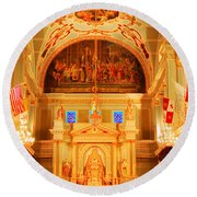 Inside St Louis Cathedral Jackson Square French Quarter New Orleans Accented Edges Digital Art Round Beach Towel