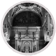 Inside St Louis Cathedral Jackson Square French Quarter New Orleans Black And White Round Beach Towel