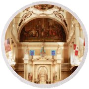 Inside St Louis Cathedral Jackson Square French Quarter New Orleans Diffuse Glow Digital Art Round Beach Towel