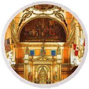 Inside St Louis Cathedral Jackson Square French Quarter New Orleans Digital Art Round Beach Towel