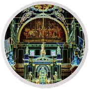 Inside St Louis Cathedral Jackson Square French Quarter New Orleans Glowing Edges Digital Art Round Beach Towel