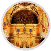 Inside St Louis Cathedral Jackson Square French Quarter New Orleans Ink Outlines Digital Art Round Beach Towel
