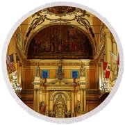 Inside St Louis Cathedral Jackson Square French Quarter New Orleans Poster Edges Digital Art Round Beach Towel by Shawn O'Brien