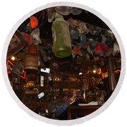 Inside The Bar In Luckenbach Tx Round Beach Towel by Susanne Van Hulst