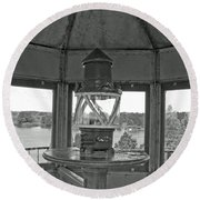 Inside The Lighthouse Tower. Uostadvaris. Lithuania. Round Beach Towel