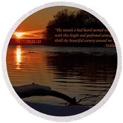 Inspirational Sunset With Quote Round Beach Towel