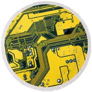Integrated Circuit Round Beach Towel by Carlos Caetano