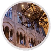 Interior Notre Dame Cathedral Round Beach Towel