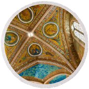 Interior St Francis Basilica Assisi Italy Round Beach Towel by Jon Berghoff