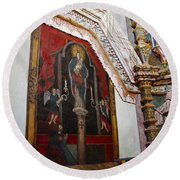 Interior Wall San Xavier Del Bac Mission Round Beach Towel