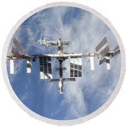 International Space Station Backdropped Round Beach Towel