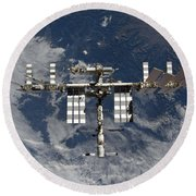 International Space Station Backgropped Round Beach Towel