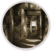 Into The Butterfly Garden Sepia Round Beach Towel