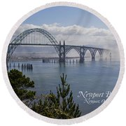 Into The Fog At Newport With Text Round Beach Towel