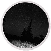 Into The Night Monochrome Round Beach Towel