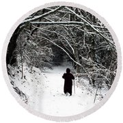 Into The Snowy Forest Round Beach Towel
