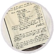 Invoice Of A Sale Of Black Slaves Round Beach Towel