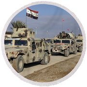 Iraqi Army Soldiers Aboard M1114 Humvee Round Beach Towel
