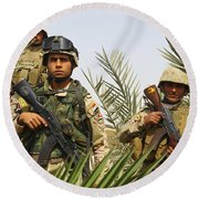 Iraqi Soldiers Conduct A Foot Patrol Round Beach Towel