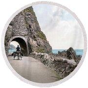 Ireland: Black Cave Tunnel Round Beach Towel