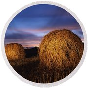 Ireland Hay Bales Round Beach Towel