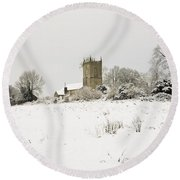 Ireland Winter Landscape With Church Round Beach Towel
