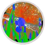 Iris 31 Round Beach Towel