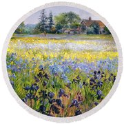 Irises And Two Fir Trees Round Beach Towel