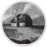 Irish Cabin, 18th Century Round Beach Towel