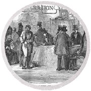Irish Immigrants, 1851 Round Beach Towel
