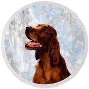 Irish Red Setter Round Beach Towel